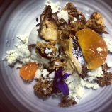The first dish on the new menu. Chocolate, jerusalem artichoke and mandarin.